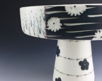 Black and White Ceramic Cake Stand, Ceramic Wedding Gift, handmade, Asian inspired, modern, wedding gift, house warming gift, unique pottery