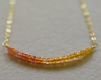 Orange ombre sapphire necklace rose gold, yellow gold or sterling silver, yellow stone necklace, pink gold jewelry