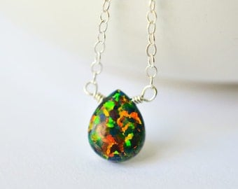 Simulated black opal solitaire necklace sterling silver black stone necklace multi-colored necklace Kahili Creations made in Hawaii