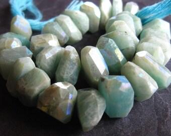 Mystic Amazonite Nuggets - semiprecious gemstone beads - 13mm X 8mm
