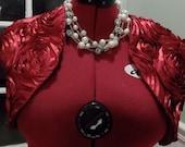 Red/Red Rosette Satin Bolero/Shrug/Crop Jacket Fully Lined-Short Sleeve-Formal-Wedding/Bridal
