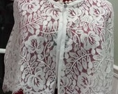 White/White Chantilly Rose Lace Capelet/Cover UP-Formal/Wedding/Bridal/Cape