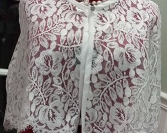 White Chantilly lace bridal capelet lace wedding cape lace bridal cover up