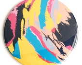Abstract Art Pocket Mirror in Orange, Coral, and Turquoise Floral with Storage Bag