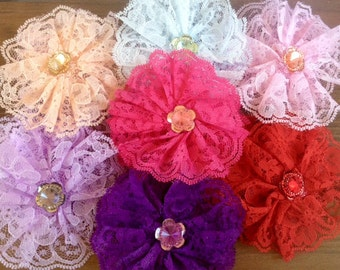 SALE Lace 4 inch Hair Flowers for hair clips and baby headbands x 14