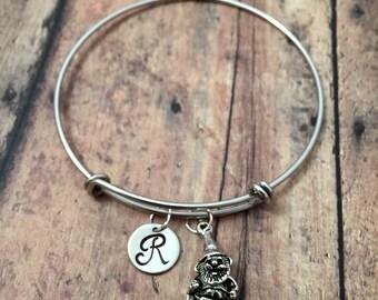 Garden gnome initial bangle - gnome jewelry, gift for gardener, gnome pendant, garden gnome bracelet, silver gnome initial bangle