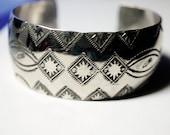 Vintage Wide Sterling Cuff Bracelet, Ethnic Sterling Silver Bracelet
