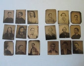 Antique Gem Tintypes lot of 18 small tintypes