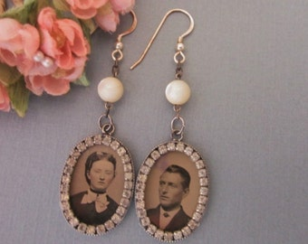 Antique Tintype Earrings with Rhinestones and Mother of Pearl Beads Gem Tintype Earrings