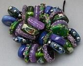 "DSG Beads Handmade Organic Lampwork Glass Made To Order-""Garden Fairies"" Chunky Discs"