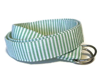 Green Seersucker Belt Women's Blue Preppy Belt Red Seersucker D-Ring Belt Striped Fabric Belt Nautical Cloth Belt in 3 widths - Seersucker
