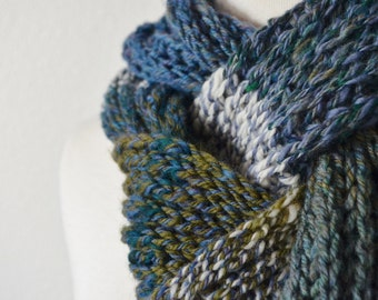 Forest Scarf - Handspun Handknit Soft Merino Wool Menswear Scarf - Textured Knit in Blue, Green, and White.