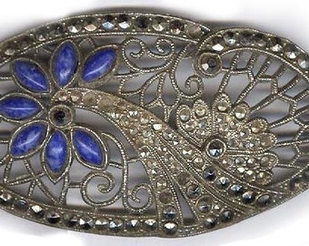 vintage art deco marcasite finding focal patina AB blue glass INTERESTING embellishment original patina ox REPURPOSE