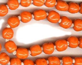 vintage ORANGE glass beads JAPANESE beads bright orange BAROQUE shape forty beads