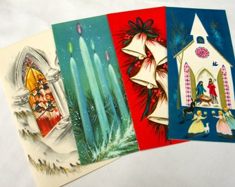 Vintage Christmas Cards - Set of 4 (C)