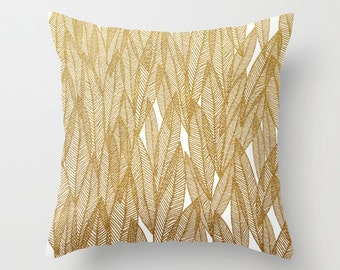 Decorative pillow cover- gold-white-nature-leaves-leaf pattern- modern home decor- gift for her