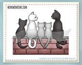 Digital Stamp - Love Cats - kitty family and bonus silhouette digi image