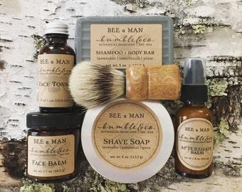 Grooming Gift Set   Mens Shaving Set   Shave Soap, Brush, Aftershave, Bath Body Bar, Face Toner, Face Balm   Wet Shaving Kit   Luxury Gift