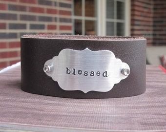 Blessed Leather Cuff Bracelet The Blessed Brown Leather Cuff Bracelet Personalized Hand Stamped Ready to Ship