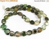 CIJ SALE Stunning Green Watermelon Tourmaline Genuine Polished Smooth and Shiny Gemstone Slices Focal Beads Necklace (full strand)