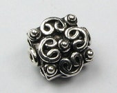 FLASH SALE Ornate Bali Sterling Silver Square Flat Bead with Hearts and Dots (1 bead)