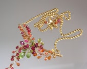 Gemstone Tendril Necklace, Gold Filled Bar Choker, Delicate Vines, Colorful Sapphires, Peridot, Artisan Made, Original Design