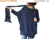 WINTER SALE 20% 20 Percent SALE! Tweed Blue Over Size Sweater with Pocket Scarf by Afra Sweater - Scarf Set Plus Size