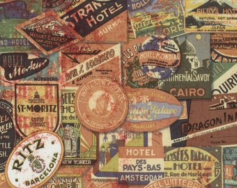 Eclectic Elements Travel Labels - Tim Holtz Fabric - Half Yard - Orange Whimsical Writing Quilt Fabric Eclectic Elements PWTH009.NEUTR
