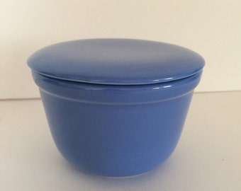 Blue Oxfordware Small Lidded Covered Dish 1950's Ceramics Pottery Made in USA #1
