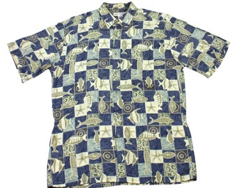 Vintage Pierre Cardin Blue/Cream Fish Print Hawaiian Shirt Mens Size Medium