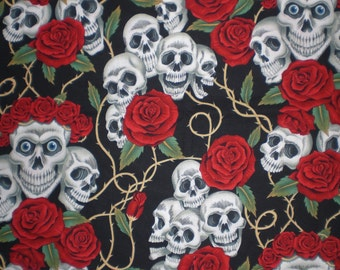 Skull Fabric Remnant 16x44 DESTASH The Rose Tattoo (Skulls and Roses) Fabric Alexander Henry Fabric