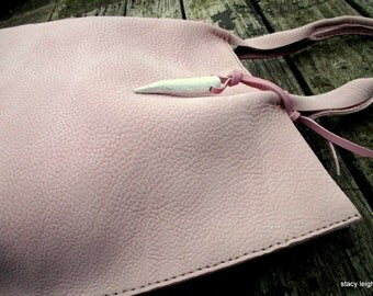 Soft Pink Nubuck Leather Tote Bag by Stacy Leigh