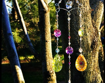 Crystal Prism Suncatcher   Handmade Wire Wrapped Chandelier Suncatcher   Feng Shui Gift