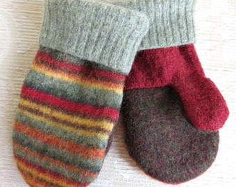 Upcycled Mittens for Kids, Felted Sweater Wool Mittens in Greens, Red, Burgundy and Brown Stripes