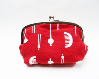 Cosmetic bag, red and white, Japanese hair slides, cotton purse