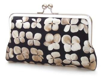 Black and white flower clutch bag, silk purse, white flowers, hydrangea petals, monochrome wedding, ON SALE