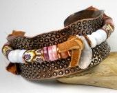 Beaded Copper Cuff, Stamped Copper Cuff, Antique Venetian Trade Beads, African Opal, Austrailan Opal, Repurposed Copper- Transcontinental
