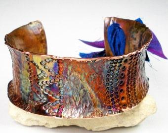 Hammered Copper Cuff, Stamped Copper Cuff , Anticlastic Cuff, Tribal Copper Jewelry,  Rustic Copper, Metalwork, Colorful Patina- Kenya