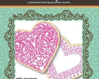 Lace Heart Cookie Cutter & Stencil Set - Designer Stencils (TS073) Valentines, Wedding, Love