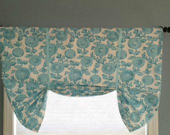 Faux Roman Shade/Butterfly Valance/Tie up Valance/Topper/Stationary Roman Shade/Coastal Blue Fabric/Choose Design/Starfish/Berlin/Mums