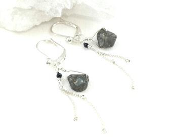 Pyrite Earring Silver, Pyrite Earrings, Dainty Drop Earrings, Dainty Silver Earrings, Delicate Silver Earrings, Silver Gem Earrings
