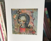 Love grows here  wall art print mixed media art colorful young girl