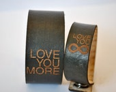 His & Her Leather Valentine's Day gift SET, love you more, valentines day gift for him, Valentine's Day gift for her, love you infinity