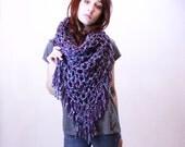 NEW The Fringe Cowl neck scarf hood shawl vegan turquoise blue radiant plum purple