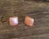 square stud earrings | peach enamel studs | lucite cubes by leetie