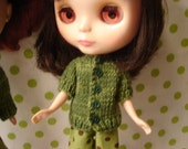 Blythe Little Green Cardigan Sweater-Pullip and Vintage Skipper too!!