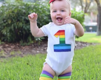 Rainbow First Birthday Baby Bodysuit and Leg Warmer Set - Great Gift or Birthday Party Outfit - Other Appliquè Choices Available by Request