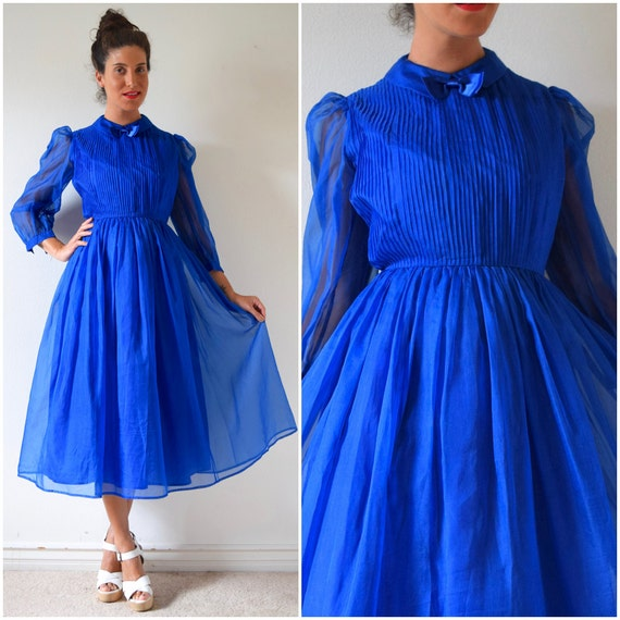 SPRING SALE/ 20% off Vintage 80s does 50s Royal Blue Silk Organza Tuxedo Pleated Bodice New Look Party Dress (size small, medium)