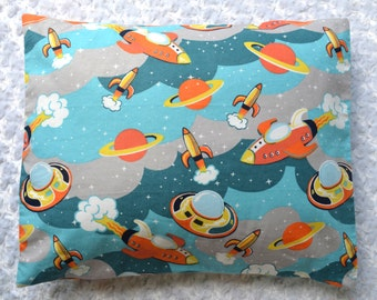 The Perfect Toddler Pillow ... Retro Orange and Aqua Space Ships and Rockets on Light Gray Flannel ... Original Design by Sew Cinnamon