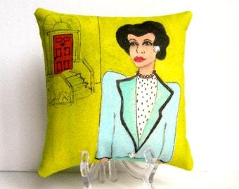 LONDON LADIES JUDITH, hand painted pillow, London, Queen, patina suit, row house,  gift for her, London lady, pistachio , funny quote,